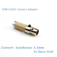 YAM CA501 Convert Sennheiser 3.5mm to SHURE TA4F Wireless Bodypack Transmitter