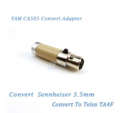 YAM CA505 Convert Sennheiser 3.5mm to Telex TA4F Wireless Bodypack Transmitter