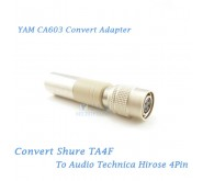 YAM CA603 Convert Shure TA4F to Audio Technica Hirose 4Pin Bodypack Transmitter
