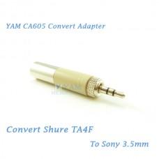 YAM CA605 Convert Shure TA4F to Sony 3.5mm Wireless Bodypack Transmitter