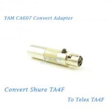 YAM CA607 Convert Shure TA4F to Telex TA4F Wireless Bodypack Transmitter