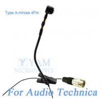 YAM Black Y608-C4AT Instrument Microphone For Audio Technica Wireless Microphone